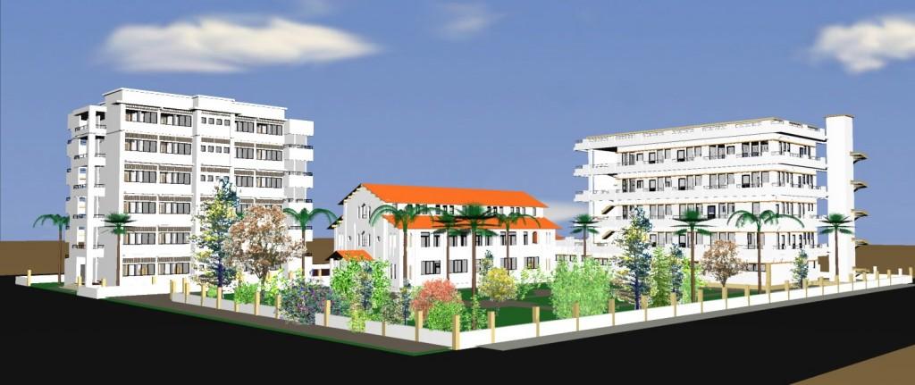 Image 3D du futur campus de Notre-Dame Ö Pointe-Noire